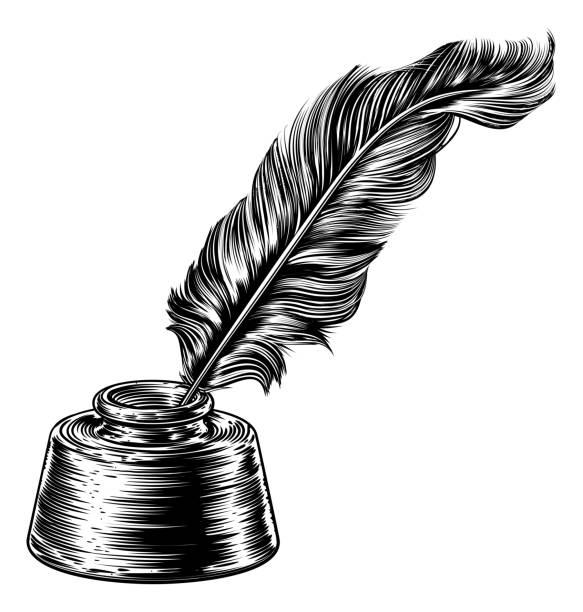 ilustrações de stock, clip art, desenhos animados e ícones de feather quill ink pen in inkwell - tinteiro