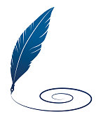 Vector Illustration of a beautiful Feather Quill Silhouette Writing a Spiral Line Clip Art Symbol.