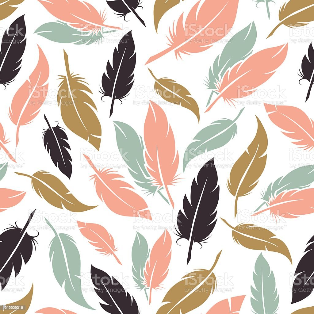 Feather seamless pattern in boho colors vector art illustration