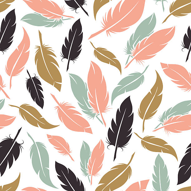 illustrazioni stock, clip art, cartoni animati e icone di tendenza di feather seamless pattern in boho colors - piume colorate