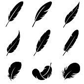 Feather Set icon, logo isolated on white background