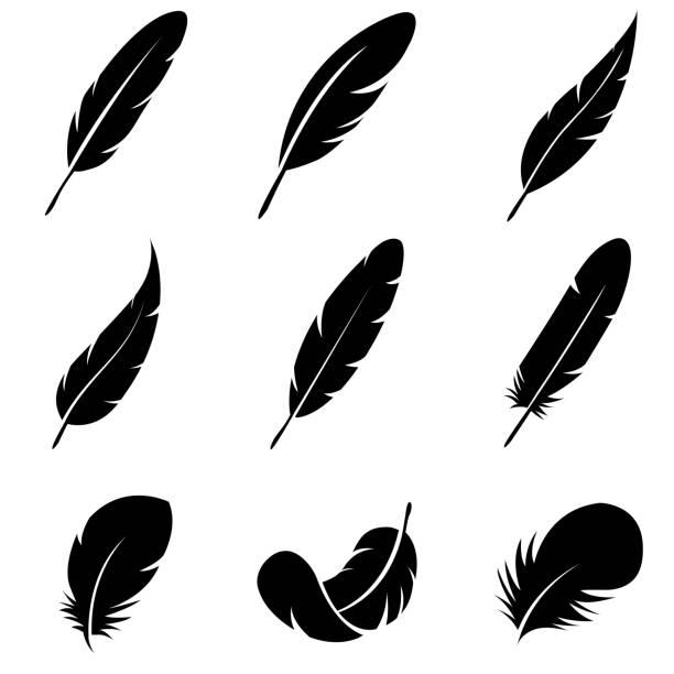 ikona zestawu piór, logo izolowane na białym tle - pióro przyrząd do pisania stock illustrations