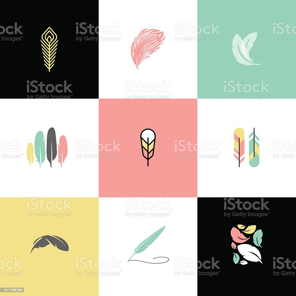 Feather. Set of modern vector design elements and icons vector art illustration