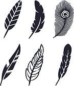Six unique feather symbol, silhouette and icon concepts.