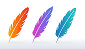 Feather colorful vibrant gradient symbols and icons.