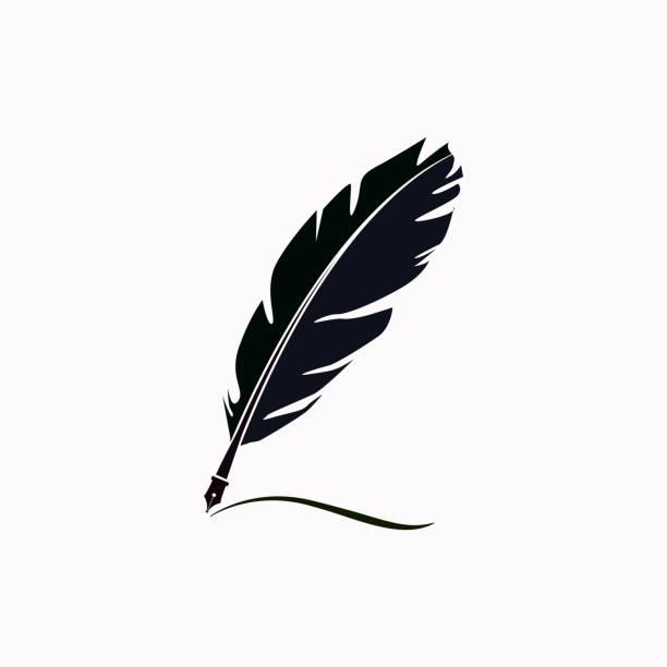 stockillustraties, clipart, cartoons en iconen met feather vector pictogram. - stekels