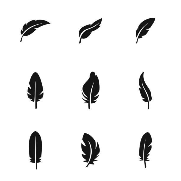 ikony wektorów piór - pióro przyrząd do pisania stock illustrations