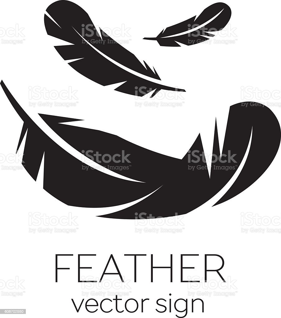 Feather, Vector, Silhouette, Icon, Logo vector art illustration