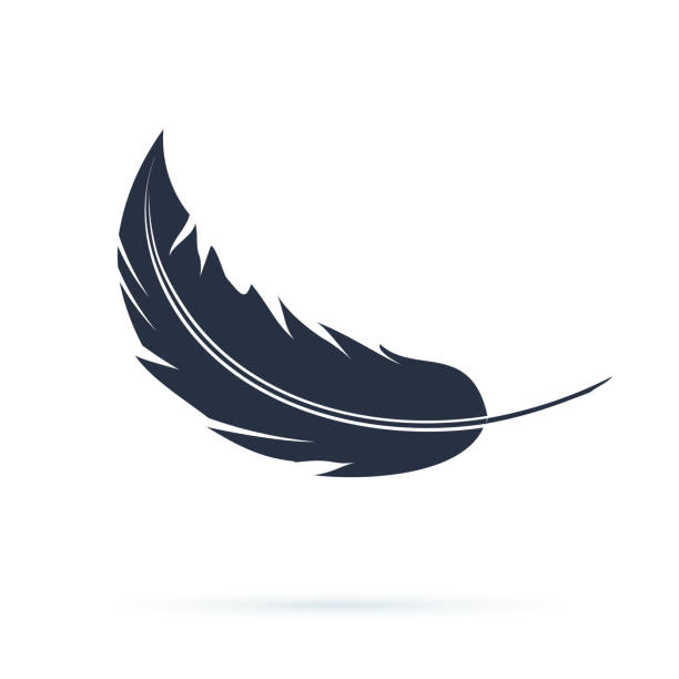 Feather Vector Silhouette Icon or Logo. Abstract black carnival fluff flying. Soft or smooth concept with a quill Feather Vector Silhouette Icon or Logo. Abstract black carnival fluff flying. Soft or smooth concept with a quill illustration isolated on white. Wing part for ink pen symbol. feather stock illustrations