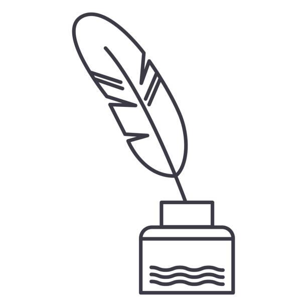 ilustrações de stock, clip art, desenhos animados e ícones de feather with writing ink,literature vector line icon, sign, illustration on background, editable strokes - tinteiro