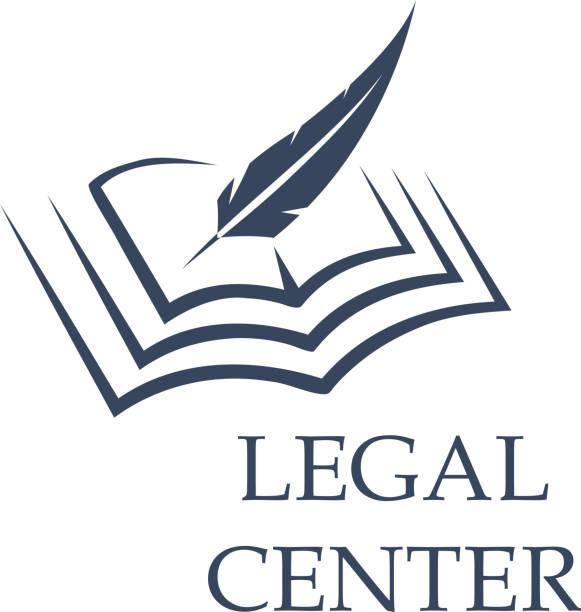 ilustrações, clipart, desenhos animados e ícones de pena de escrever no livro como sinal de centro jurídico - assistente jurídico
