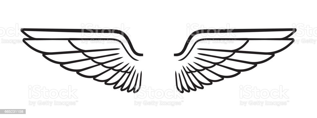 feathered wings military spread flight stock vector art more rh istockphoto com Tribal Wings Vector Aviation Wings Vector