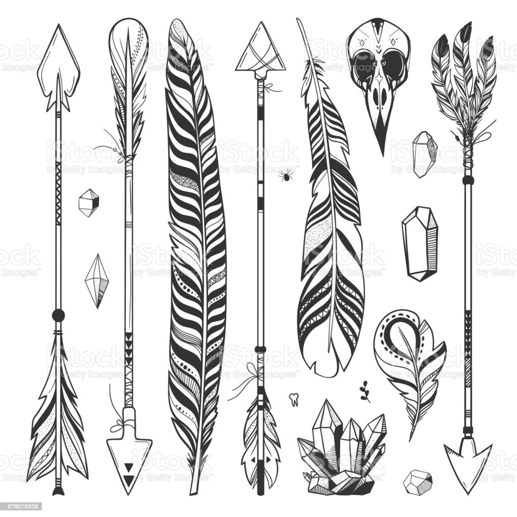 Feathers And Arrows Mystic Set Stock Illustration Download Image Now Istock