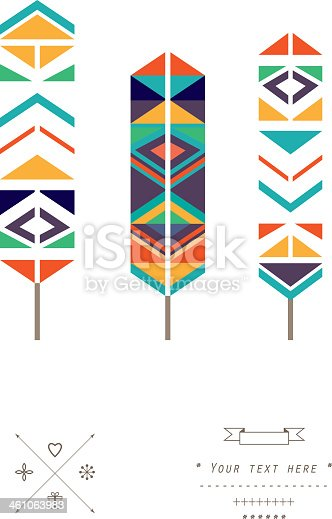 istock Feathers ethnic pattern in vector isolated on a white background 461063983