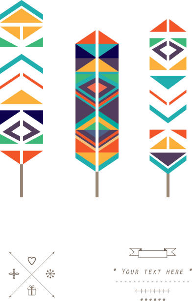 Feathers ethnic pattern in vector isolated on a white background http://s2.ipicture.ru/uploads/20131111/q9J0ra3U.jpg indigenous peoples of the americas stock illustrations