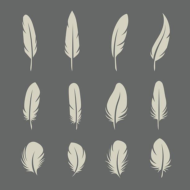 piór zestaw retro - pióro przyrząd do pisania stock illustrations
