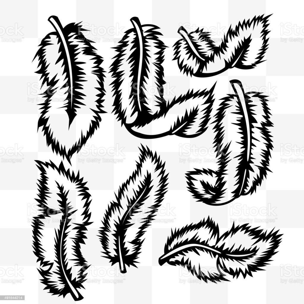 Federn Tattoo Im Hintergrund Transparent Stock Vektor Art Und Mehr