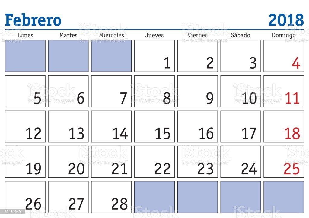 Ilustración de Calendario De Pared De Febrero 2018 Español y más ...