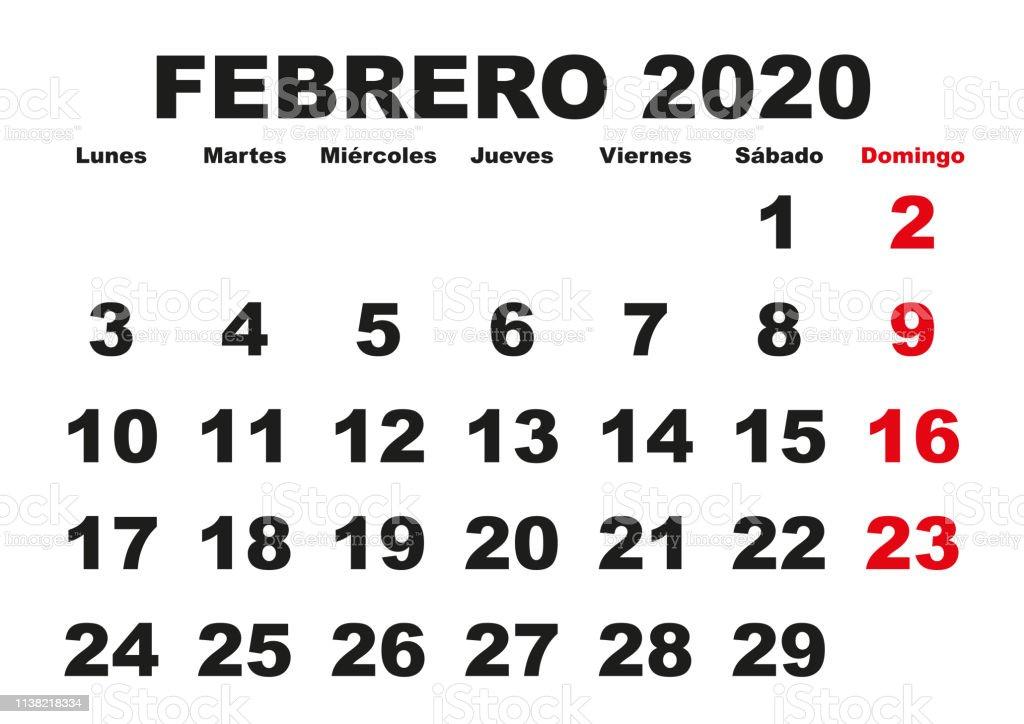 Febrero 2020 Calendario.Febrero 2020 Wall Calendar Spanish Stock Illustration Download