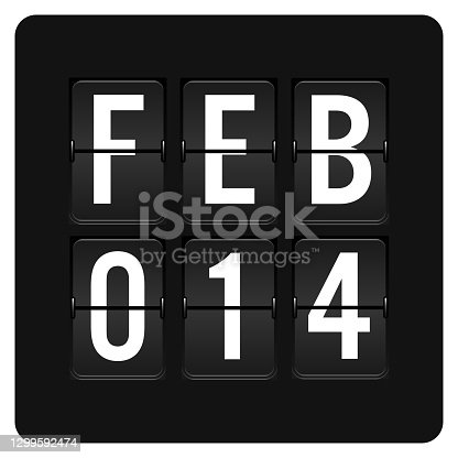 istock February 14  - Daily Calendar and black flip scoreboard  digital timer with date 1299592474