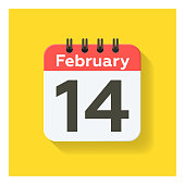 istock February 14 - Daily Calendar Icon in flat design style. Yellow background. 1297915710