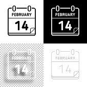 istock February 14. Icon for design. Blank, white and black backgrounds - Line icon 1294921743