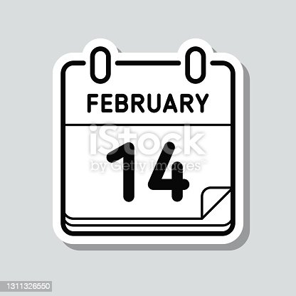 istock February 14. Icon sticker on gray background 1311326550