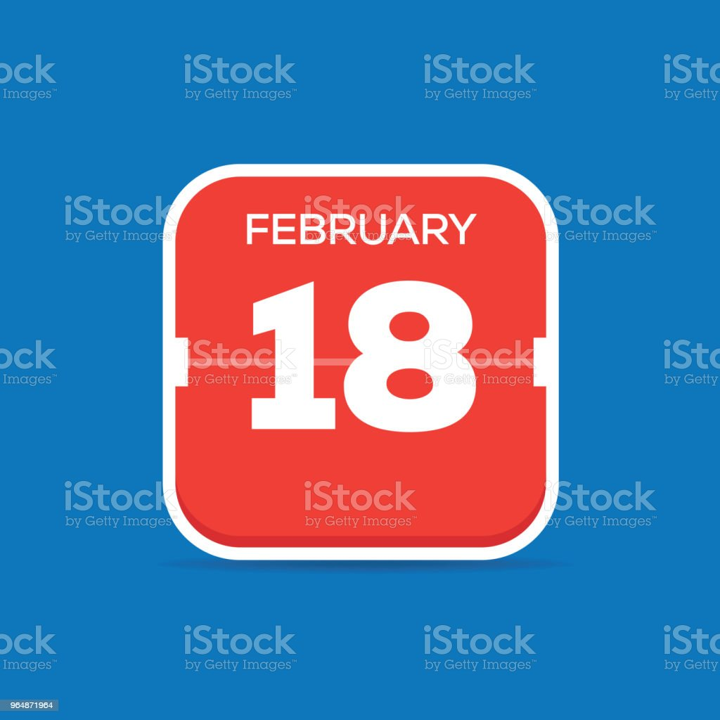 2月18日月曆平面圖標 - 免版稅18號圖庫向量圖形
