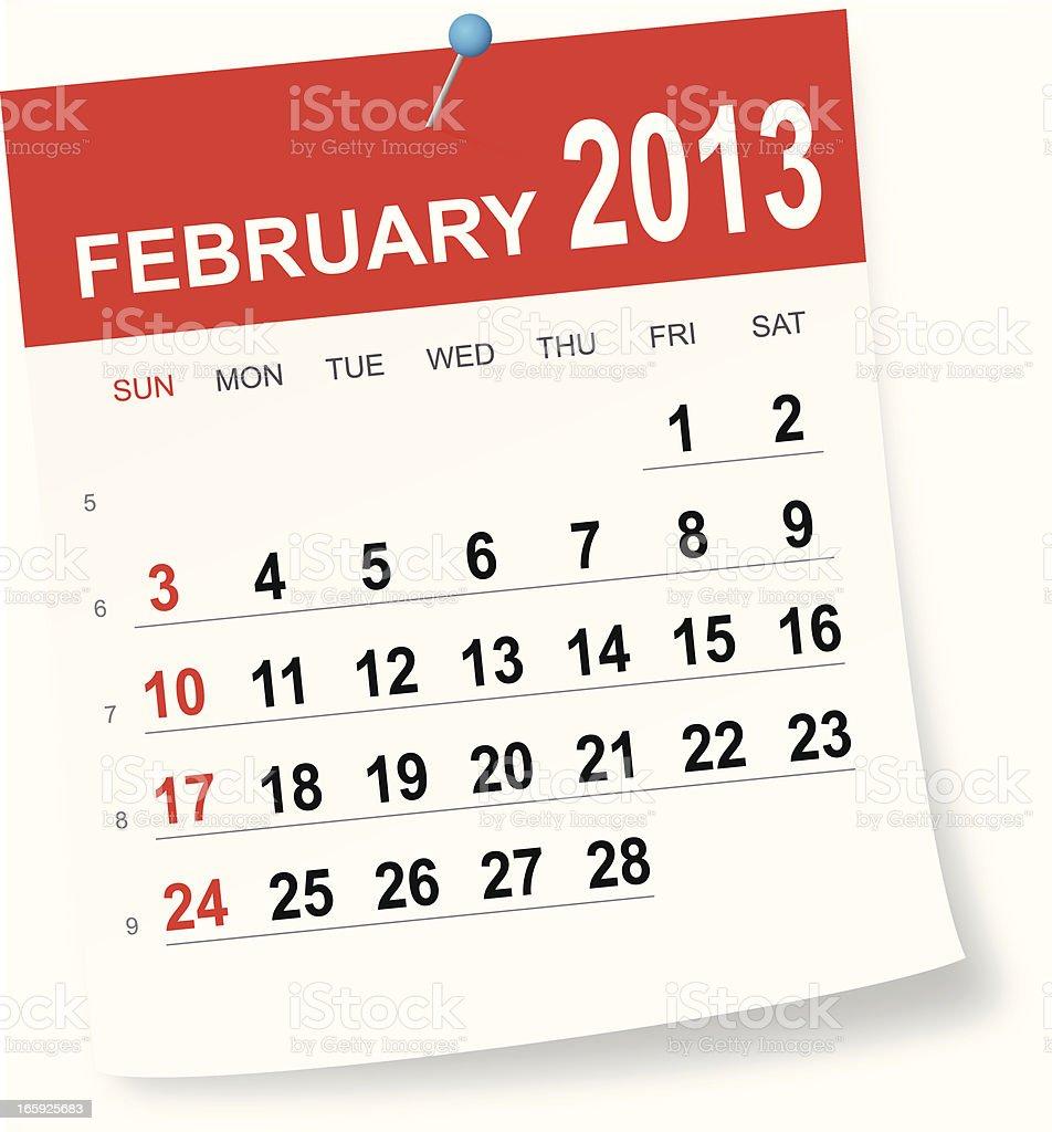 February 2013 calendar vector art illustration