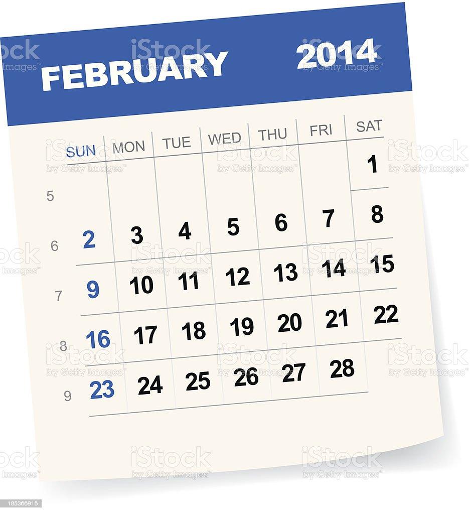 February 2014 Calendar - Illustration royalty-free stock vector art