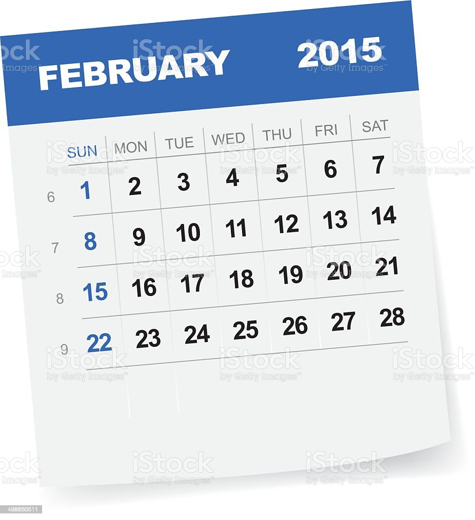 February 2015 Calendar vector art illustration