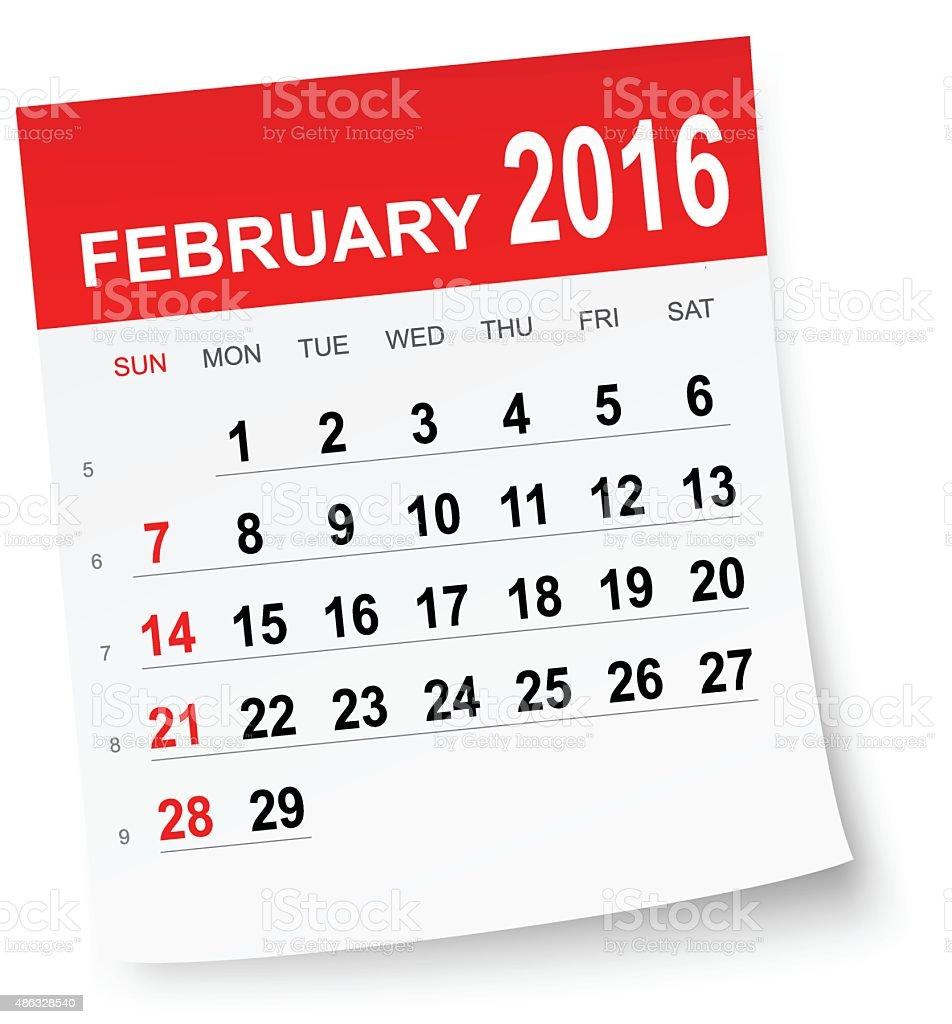 February 2016 calendar vector art illustration