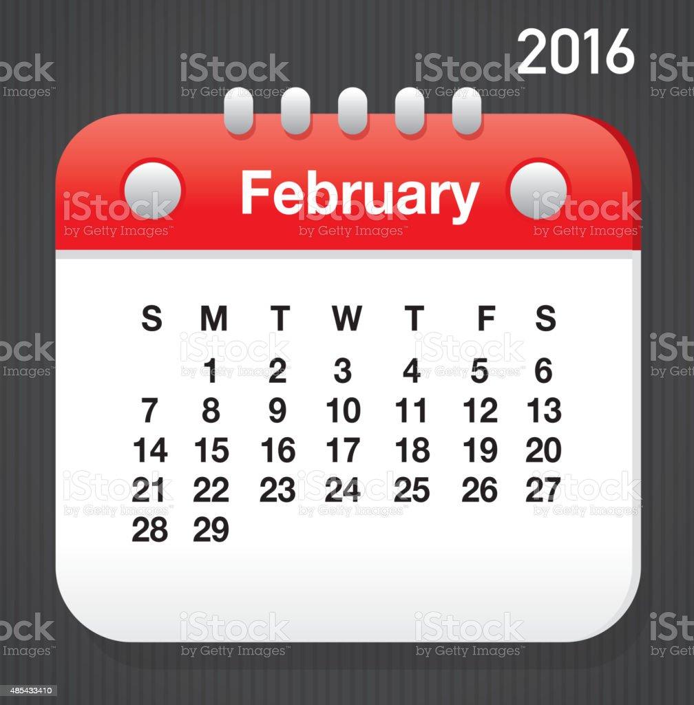 February 2016 Generic Printable Calendar Design Template