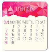 February 2016 vector month calendar. Week starting from Sunday. Contemporary low poly design in pink color.
