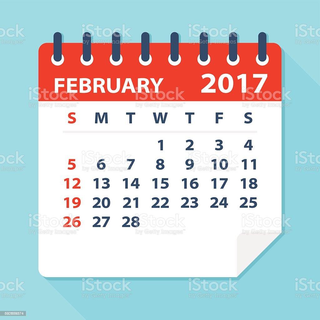February 2017 calendar - Illustration vector art illustration