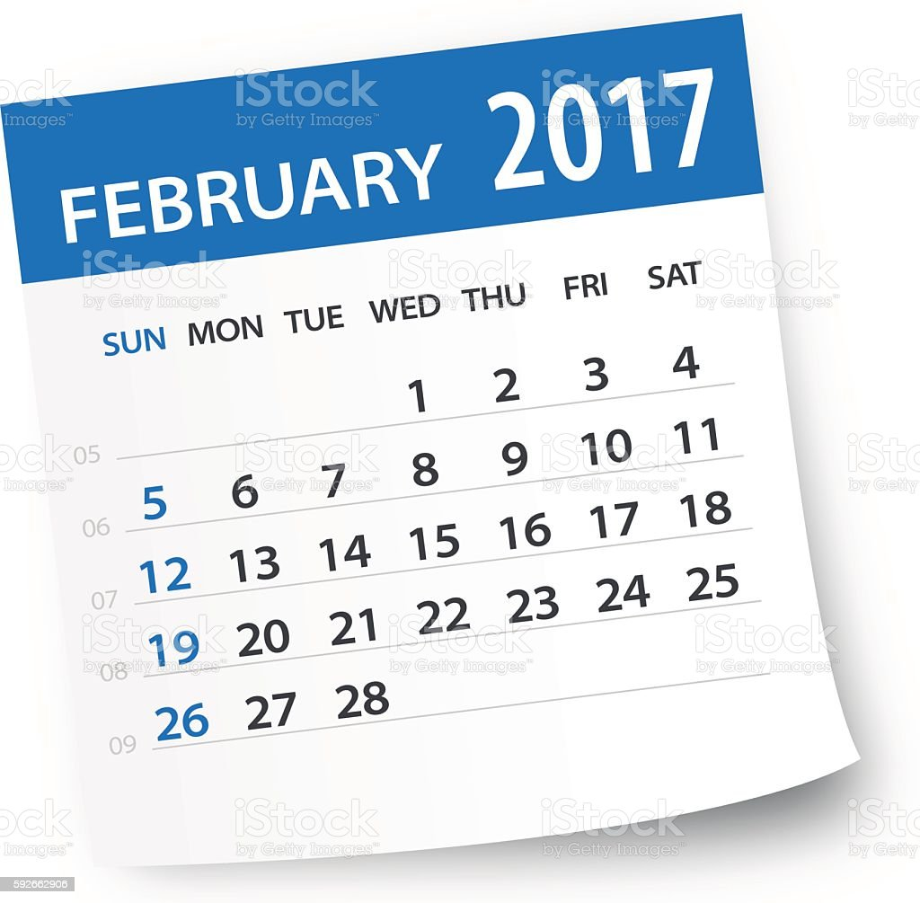 February 2017 calendar leaf - Illustration vector art illustration