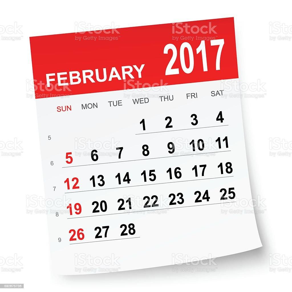 February 2017 calendar vector art illustration