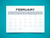 Simple February 2017 calendar design. EPS 10 file. Transparency effects used on highlight elements.