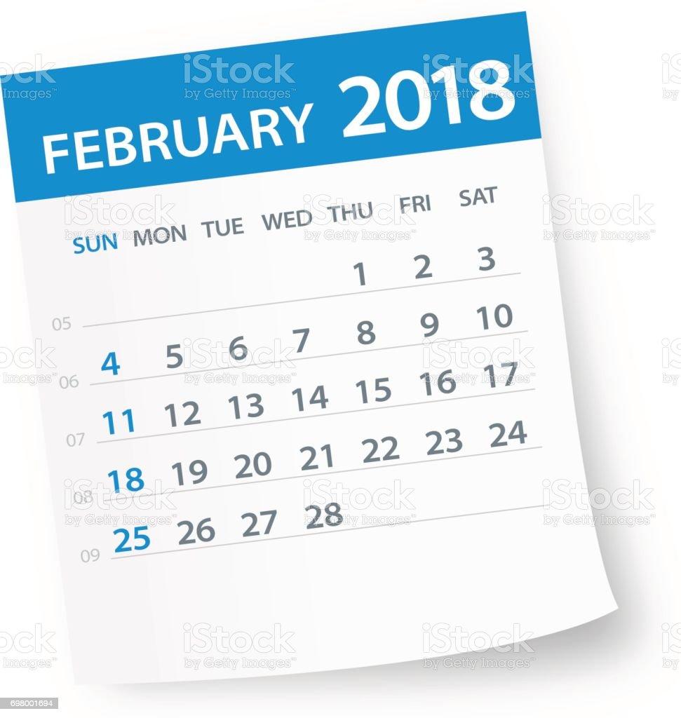 February 2018 Calendar Leaf - Illustration vector art illustration