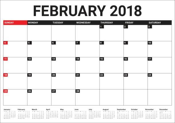 february 2018 calendar planner vector illustration vector art illustration