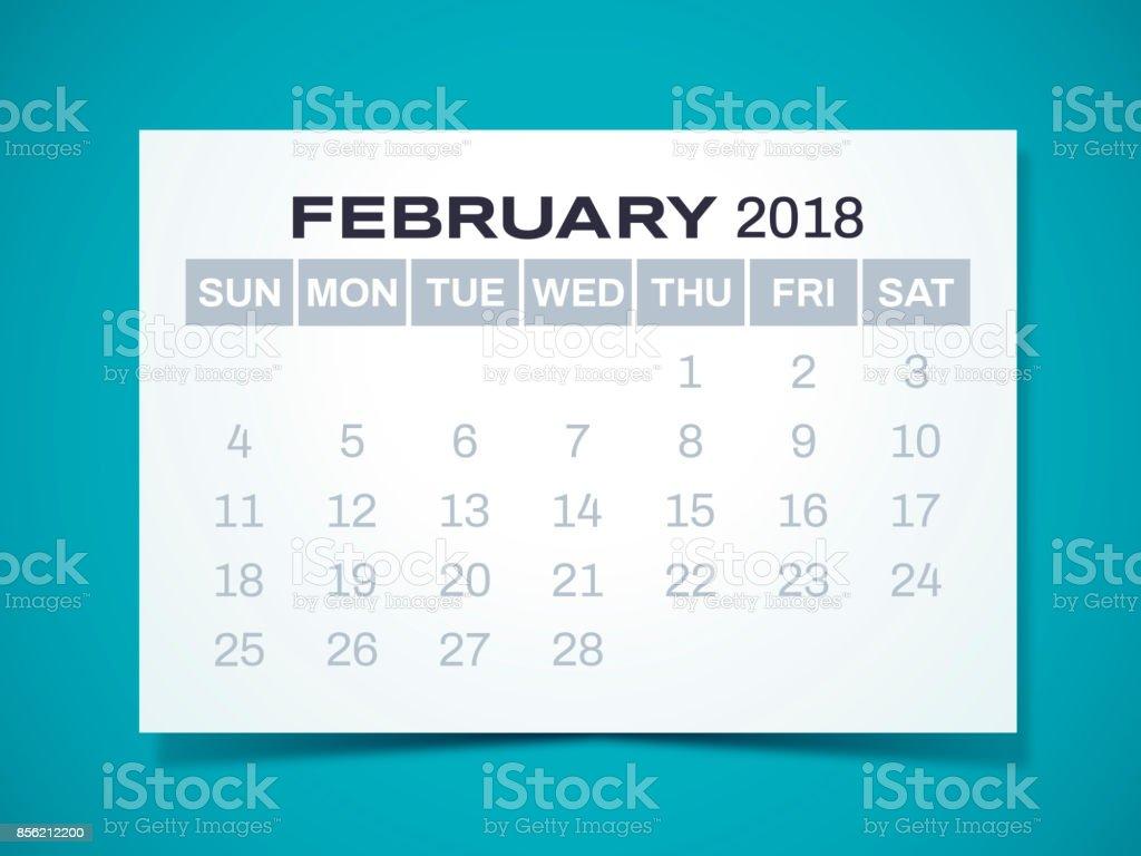 February 2018 Calendar vector art illustration
