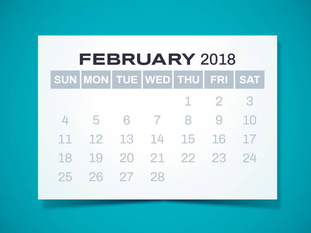 february 2018 calendar - leap year stock illustrations, clip art, cartoons, & icons