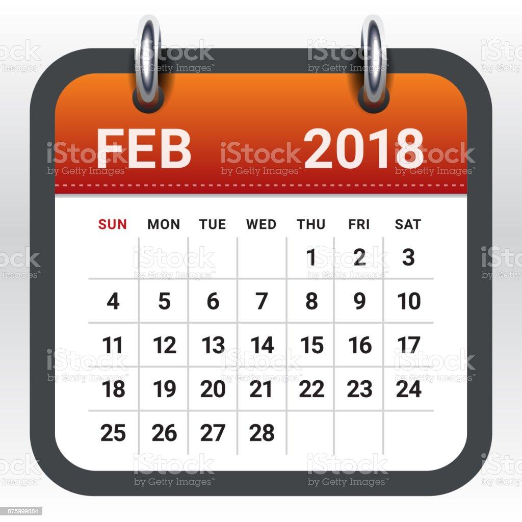 February 2018 calendar vector illustration vector art illustration