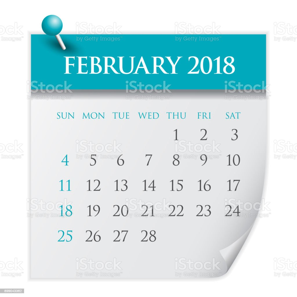 february 2018 calendar vector illustration royalty free february 2018 calendar vector illustration stock vector art