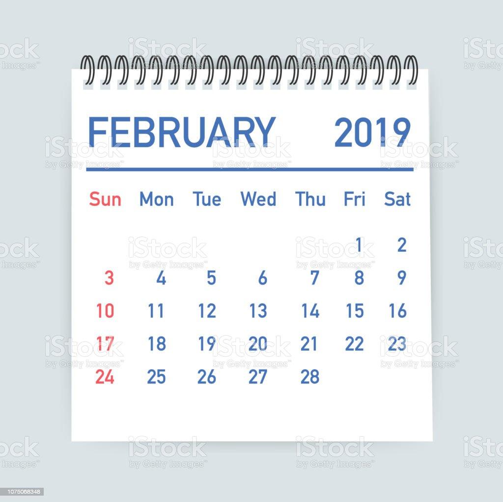 Febrero 2019 Calendario.Ilustracion De Hoja De Calendario De Febrero De 2019 Calendario 2019