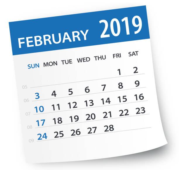 february 2019 calendar leaf - vector illustration - calendar stock illustrations, clip art, cartoons, & icons