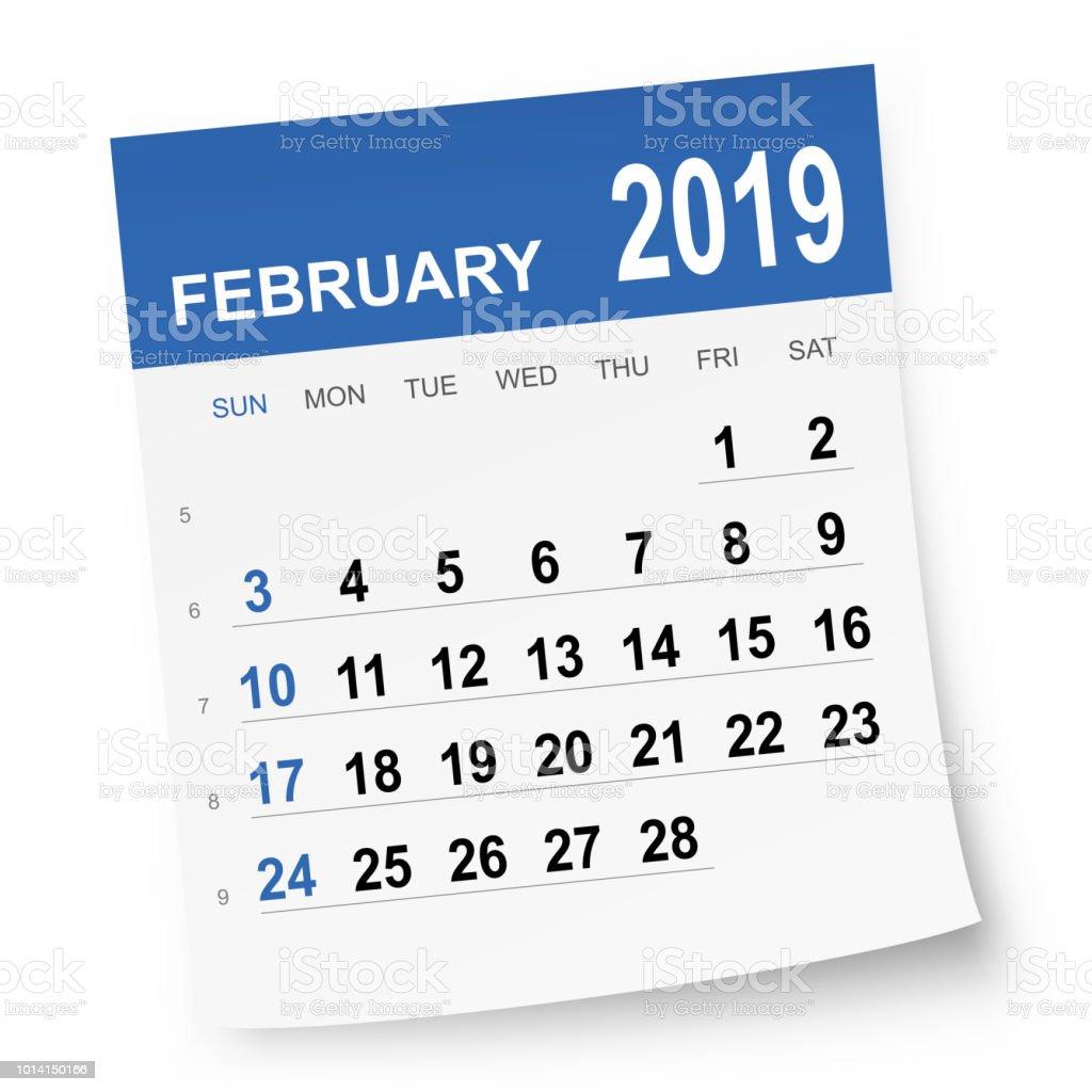 General Blue Calendar February 2019 February 2019 Calendar Stock Illustration   Download Image Now