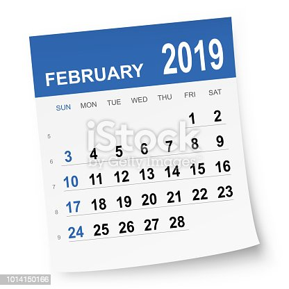 February 2019 calendar isolated on white background. Need another version, another month, another year... Check my portfolio. Vector Illustration (EPS10, well layered and grouped). Easy to edit, manipulate, resize or colorize. Please do not hesitate to contact me if you have any questions, or need to customise the illustration. http://www.istockphoto.com/portfolio/bgblue