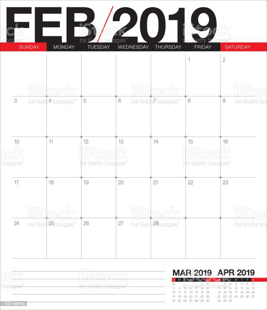 Calendar February 2019 Verticale February 2019 Desk Calendar Vector Illustration   Immagini