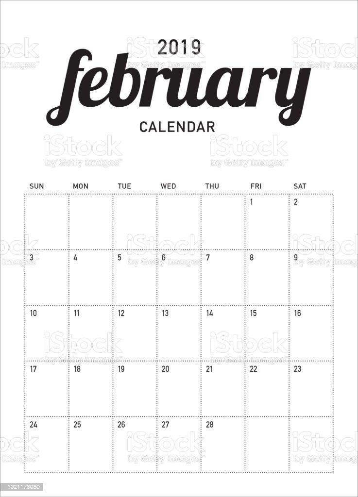 February 2019 Calendar Vector February 2019 Desk Calendar Vector Illustration Stock Illustration